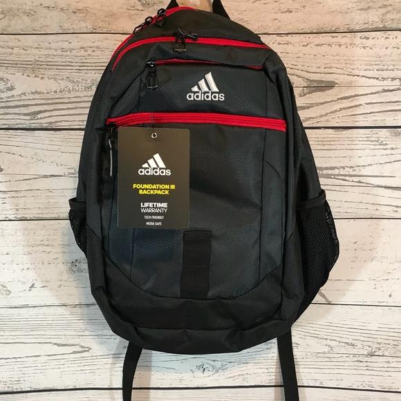 Adidas Foundation III Backpack 🎒 Gray Scarlet NWT 160ca04c0fd29